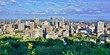MONTREAL, CANADA -20 AUGUST 2015- Scenic panorama of the city of Montreal in Quebec from the Chalet du Mont Royal (Mount Royal Chalet) belvedere viewpoint.