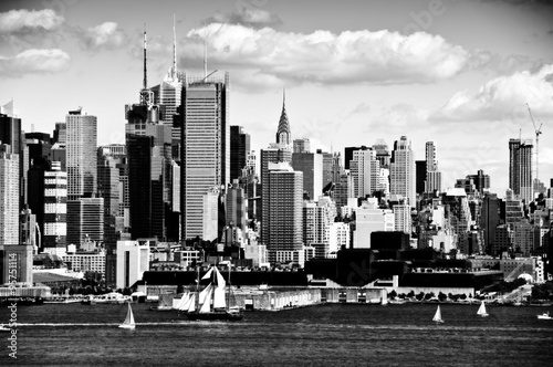 new york city cityscape over hudson river