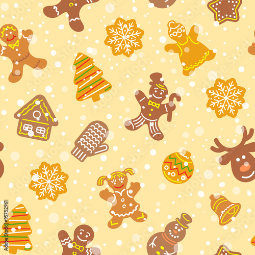 Materiał do szycia Flat vector Christmas background seamless pattern with different cookies. Gingerbread men, deer, snowflake, bell and other winter holidays symbols. Traditional festive wallpaper, wrapping paper design