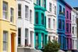 Colorful english houses facades in London near Portobello road