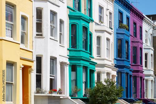 Zdjęcia na płótnie, fototapety, obrazy : Colorful english houses facades in London near Portobello road
