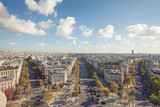 Spectacular panorama of Paris from Arc de Triomphe, France