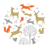 Winter Woodland Elements For Christmas Design Wall Sticker