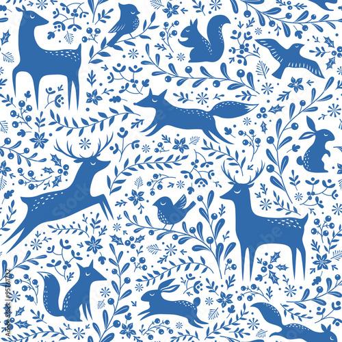 Materiał do szycia Niebieski wzór lasu Boże Narodzenie