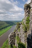 Canyon river Elbe and town Wehlen from view Bastei, Saxon Switzerland, Germany