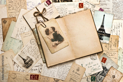old papers, french post cards and open diary book © LiliGraphie