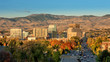 Boise Idaho city skyline in fall with Capital