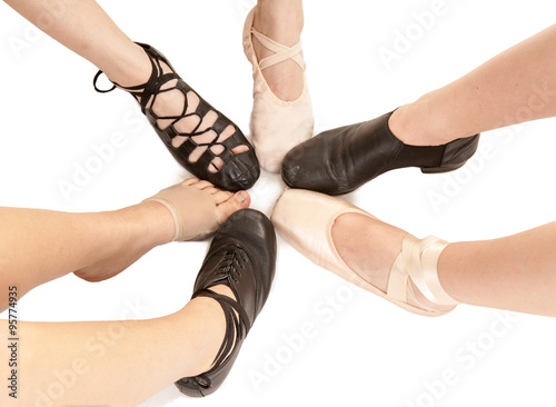 Poster Female Dance Feet in Different Shoes