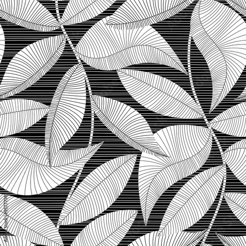 Materiał do szycia Black and white striped texture tropical seamless pattern