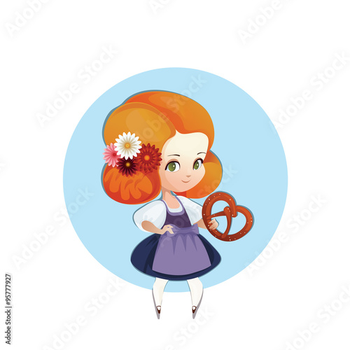 Cuter Girl with pretzel in dirndl autumn bretzel cartoon character chibi cute dirndl dress europe fest festive food germany girl illustration kid national octoberfest oktoberfest pretzel tourism traditional travel vector young