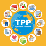 TPP (Trans Pacific Partnership) and various trading goods, services, vector icons and illustrations