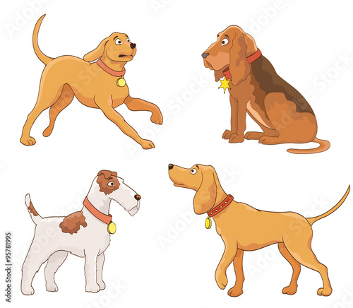Poster Pony set of cartoon dogs. vector
