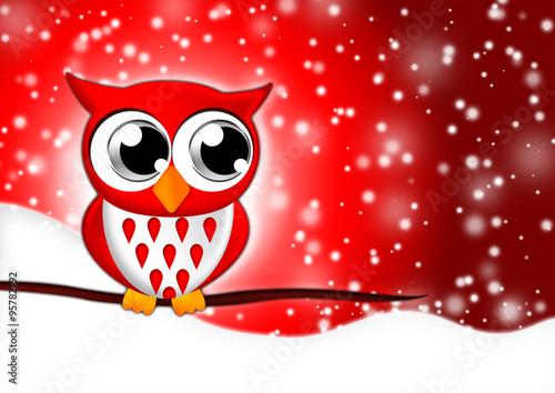Leinwandbild Motiv Eule im Schnee für Weihnachten und Sylvester