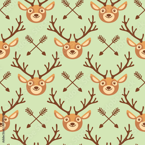 Cotton fabric Hipster seamless pattern with deer and arrows.