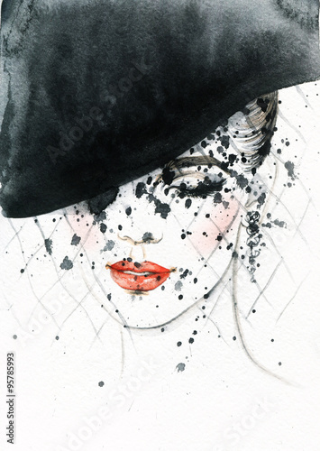 Beautiful face. woman portrait with hat. abstract watercolor .fashion background - 95785993