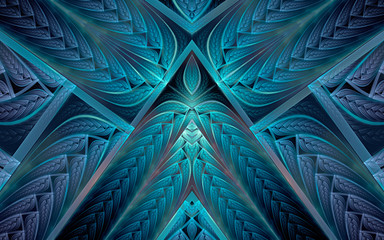 Abstract fractal background, blue mosaic ornamental pattern with angular and curved stripes
