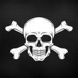 Human evil skull vector. Jolly Roger with crossbones logo template. death t-shirt design on black background. Pirate insignia concept. Poison icon illustration