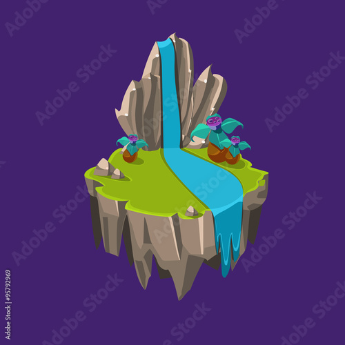 Foto op Canvas Violet Cartoon Stone Isometric Island with Waterfall and Cliff for Game, Vector Illustration
