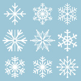 Fototapety Snowflake icons. Snowflake Vectors. Snowflakes set. Background for winter and christmas theme. Vector illustration. EPS10.