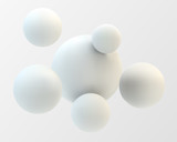 Abstract 3D white spheric background. Vector illustration