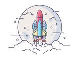 Fototapety Startup space rocket
