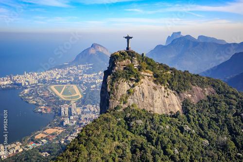 Papiers peints Rio de Janeiro Aerial view of Christ the Redeemer and Rio de Janeiro city