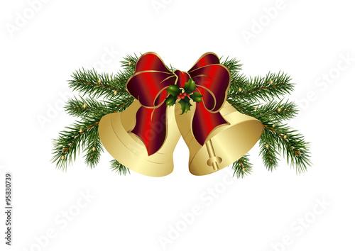 weihnachtsglocken mit tannengr n und schleife stockfotos. Black Bedroom Furniture Sets. Home Design Ideas