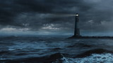 Lighthouse in stormy sea - loop.