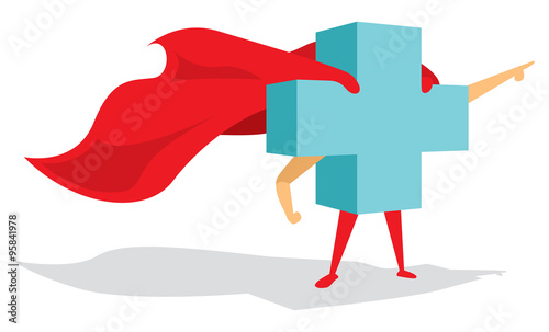 Medical health cross super hero with cape bravely pointing forwa