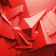Abstract red digital 3d chaotic polygonal surface