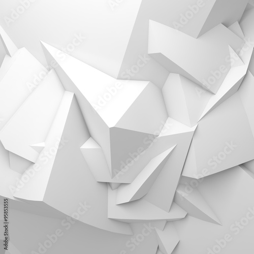 Abstract white digital 3 d chaotic polygonal surface © evannovostro