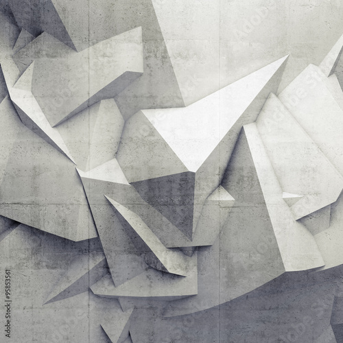 Abstract white digital 3d chaotic polygonal surface - 95853561