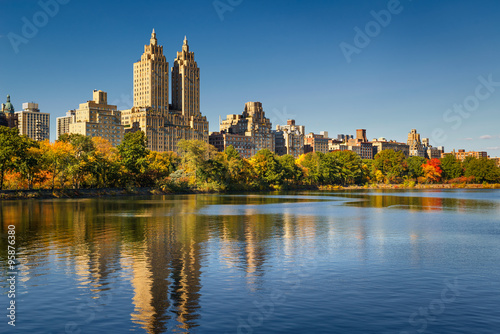 Central Park and Manhattan, Upper West Side with colorful Fall foliage Poster