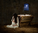 Pregnant Mary Leaning on Manger - 95882558
