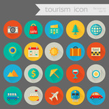 Fototapety Trendy detailed tourism icon set