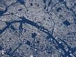 Cartina Parigi, vista satellitare, sezione 3d, strade e vie, Francia