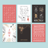 Christmas hand drawing greeting card set. Isolated vector illust