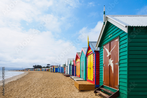 obraz lub plakat Colorful bath houses, Brighton Beach in Melbourne