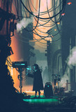 Fototapety sci-fi scene of robot using futuristic computer in city street,illustration painting