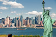 new york city cityscape skyline with statue of liberty