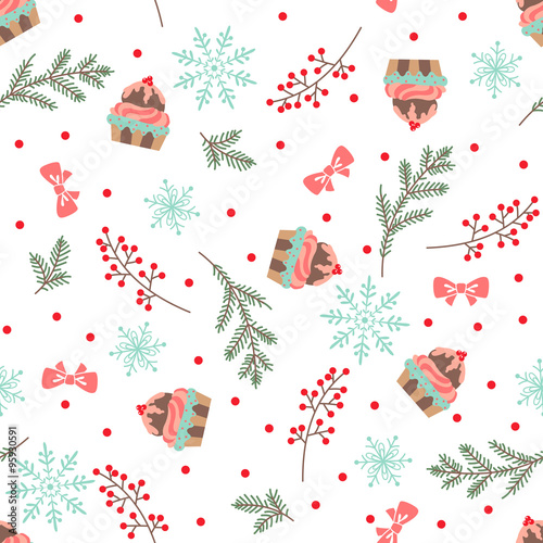 Materiał do szycia Christmas and New Year seamless vector pattern