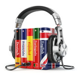 Fototapety Learning languages online. Audiobooks concept. Books and headpho