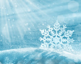 Fototapety Christmas background with a decorative snowflake on brilliant snow