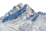 Snowy peak isolated over white background