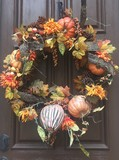 fall wreath on wood door