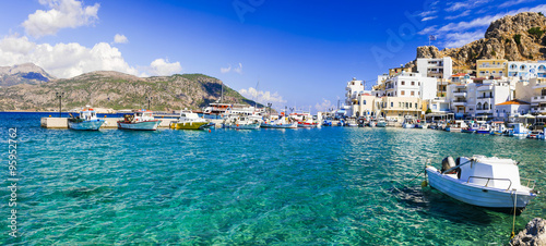 beautiful islans of Greece - Karpathos with pictorial capital Pigadia