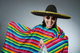Funny mexican wearing sombrero hat - 95974508