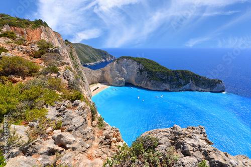 Navagio Beach on Zakynthos Island in Greece © kwasny221