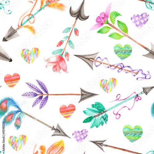 Seamless pattern of watercolor romantic arrows and hearts on a white background © nastyasklyarova