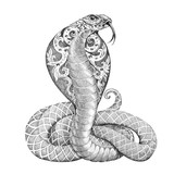 Tattoo snake cobra with open cowled - 95984999